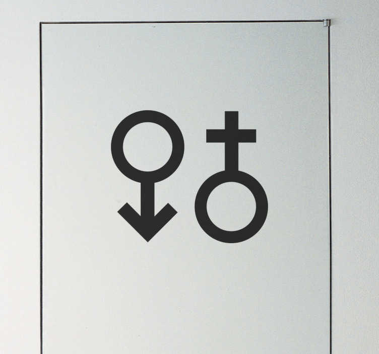 TenStickers. Male and Female Symbol Wall Sticker. This simple and stylish monochrome design featuring the scientific symbols for both genders is perfect for signposting a gender neutral bathroom!