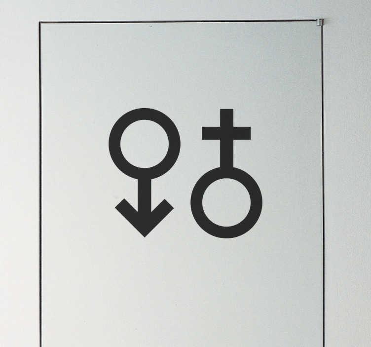 TenStickers. Decoratieve man en vrouw symbool muursticker. Man en vrouw symbool sticker, ideaal voor het aanduiden van het toilet. Beschikbaar in verschillende kleuren en maten. Keuze uit 50+ kleuren.