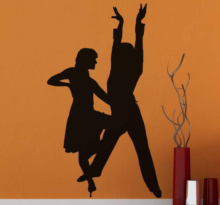 TenStickers. Decoratieve Latin Dans Muursticker. Latijns-Amerikaanse dans muursticker met het silhouet van een jongen en een meisje die een choreografie doen.