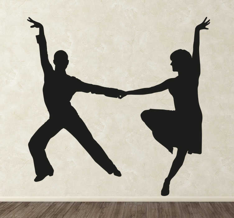 TenStickers. Latin Dance Silhouette Sticker. This decorative wall sticker perfect for dance studios or any room in the home features a stylish silhouette of a pair of energetic latin dancers!