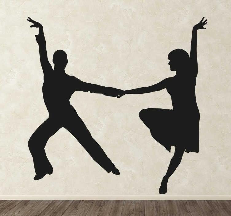 TenStickers. silhouette couple danse. sticker couple danse applicable sur toute surface et personnalisable.