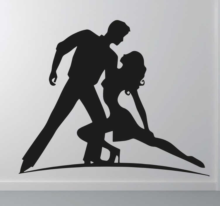 TenStickers. sticker danse latine couple. autocollant de danse latine avec silhouette de couple. Applicable sur toutes surfaces