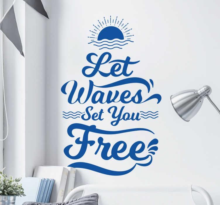 TenStickers. Wandtattoo Schriftzug Let Waves. Dekorieren Sie Ihr zu Hause doch mit unserem Wandtattoo Schriftzug Let Waves.