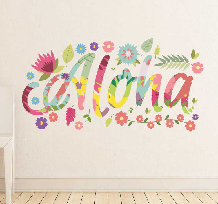 TenStickers. Aloha Hawaii Wall Sticker. Hawaii Aloha Wall Sticker - The text sticker is in a colourful flower font surrounded by flowers and leaves. This exotic flower sticker can transform a plain and boring wall in minutes!