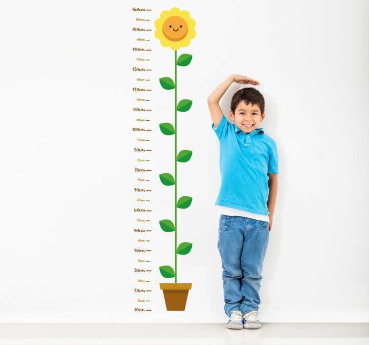 TenStickers. 儿童花高测量墙贴. 用黄色花朵测量孩子的墙高的墙贴。儿童友善,是任何家庭的绝佳选择。