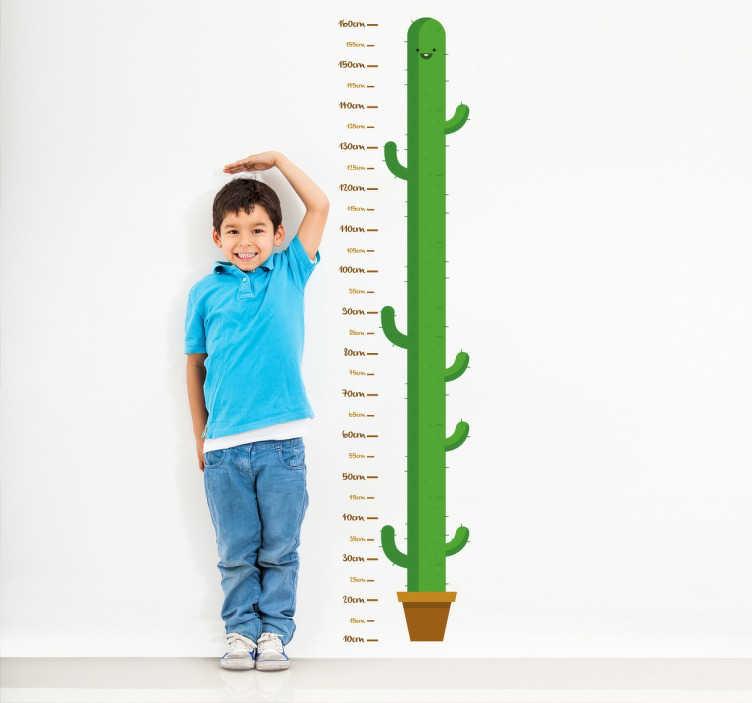 TenStickers. Metro per bambini adesivo forma cactus. Metro bambini adesivo con la forma di un simpatico cactus Ideale per misurare l'altezza dei tuoi bambini e decorare in maniera originale le pareti di casa con questo divertente sticker murale pianta cactus