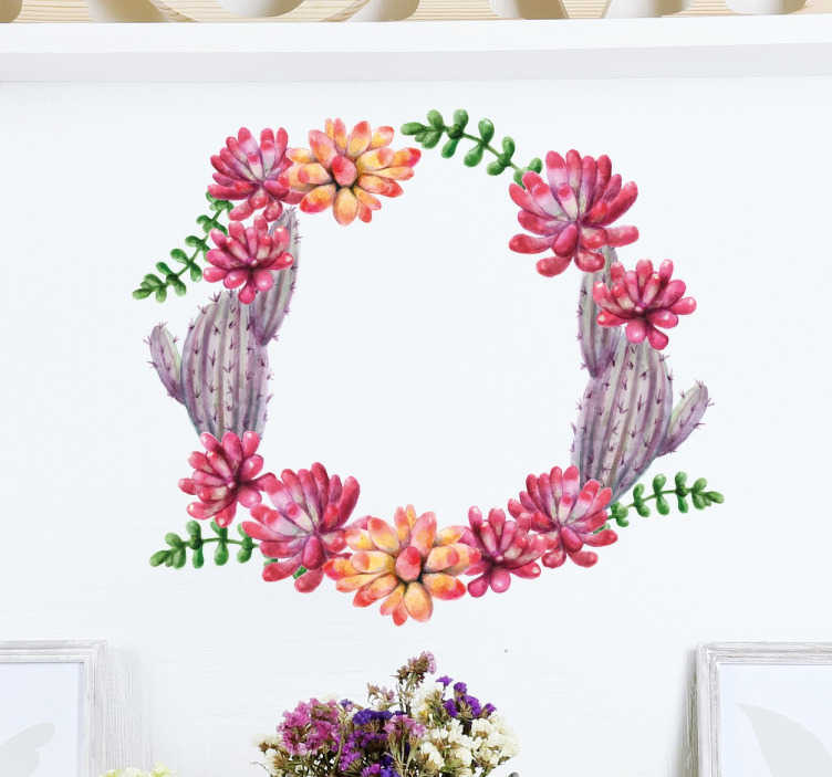 TenStickers. Circle Cactus Flower Wall Sticker. A circle wall sticker made of flowers and cactus beautifully designed. A great touch to any wall or flat surface.