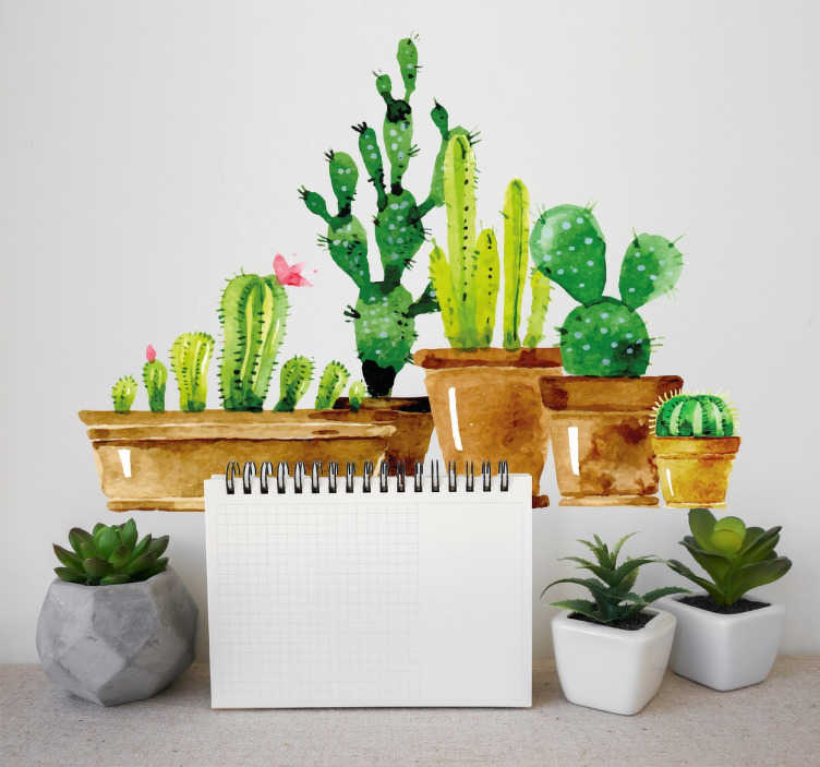 TenStickers. Naklejka ścienna kolekcja kaktusów. Naklejka pochodząca z naszej roślinnej kolekcji dekoracji na ścianę.