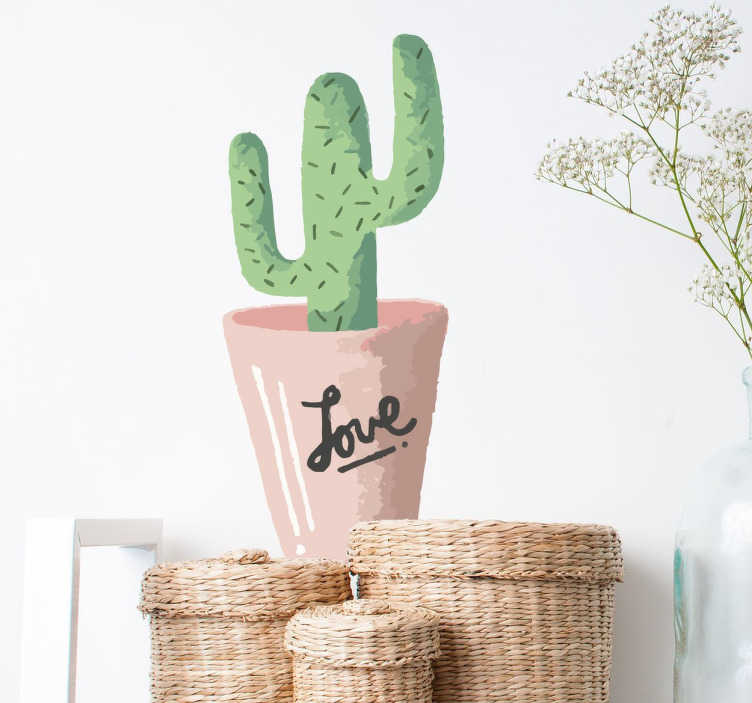 "TenStickers. Cactus Pot Love Wall Sticker. A wall sticker showing Cactus in a pot but written on the pot is the words ""love"" in a signature font."