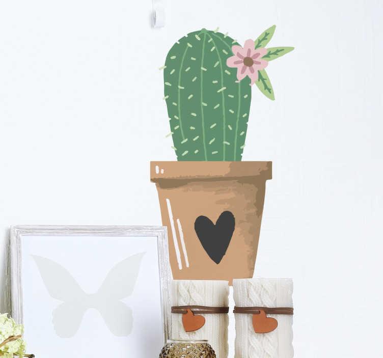 TenStickers. Adesivo cactus vaso con cuore. Adesivo pianta cactus con un fiore all'interno di un delizioso vaso con un cuoricino Wall sticker pianta perfetto per decorare con amore e allegria la vostra camera.
