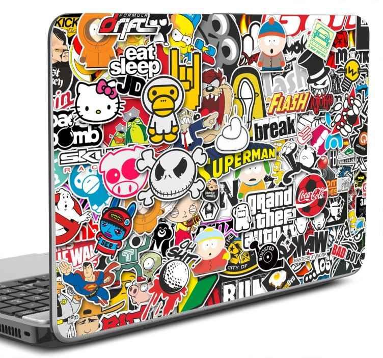 TenStickers. Laptopaufkleber Stickerbombe. Dekorieren Sie Ihren Laptop mit unserem Laptopaufkleber Stickerbombe und machen Sie ihn somit einzigartig!
