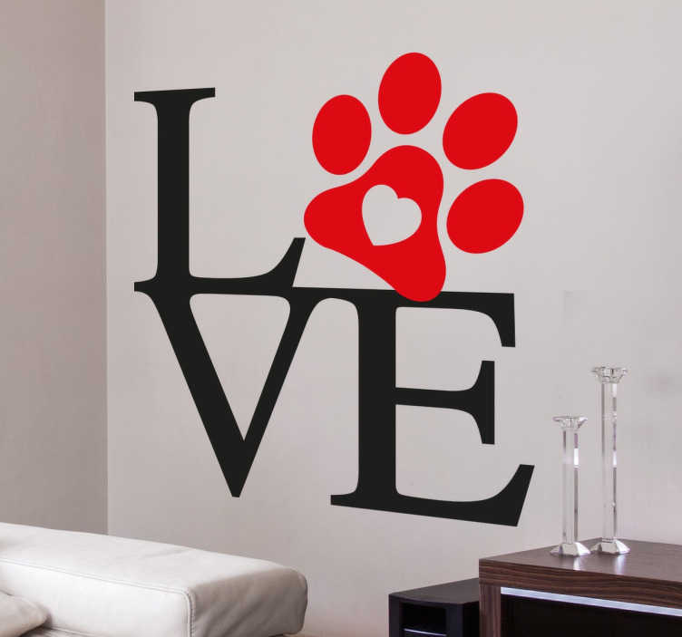 "TenStickers. Love Paw Wall Sticker. Love Wall Sticker With Paw Print. This is the perfect example of how love can be spread in the household through dogs, or in other words ""mans best friend"". Beautiful red and black text sticker to bring love and warmth to your home decor."