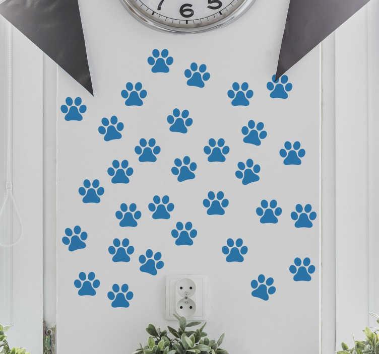 TenStickers. Vinil decorativo pegadas cão. Vinil decorativo de uma ilustração de pegadas do melhor amigo do homem, o cão. Adesivo de parede para decoração de interiores.