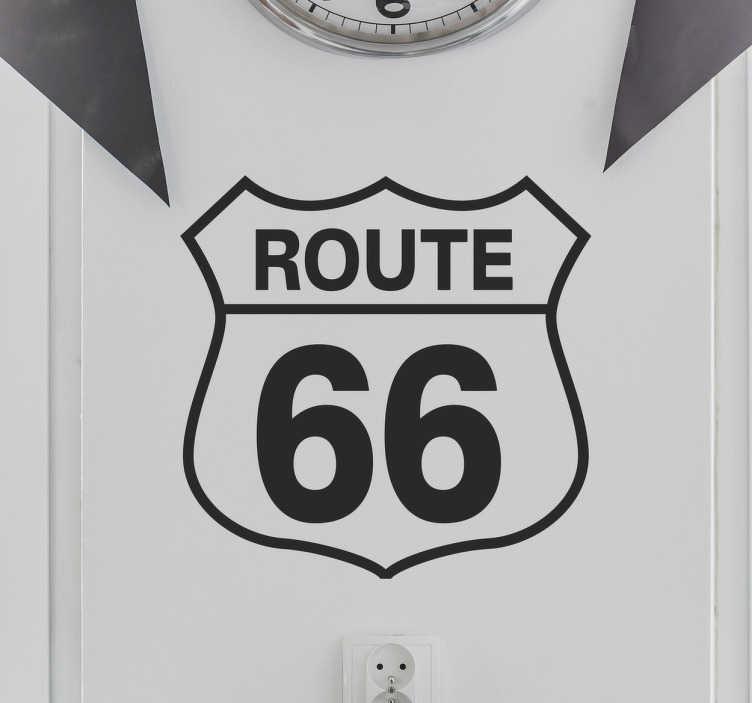 """TenStickers. Vinil decorativo placa route 66. Vinil decorativo da estrada mais conhecida dos Estados Unidos da América (EUA), em concreto desta mítica """"route 66""""."""