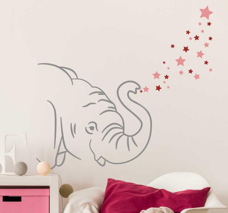 TenStickers. Naklejka ścienna słoń z gwiazdkami. Dekoracja ścienna przedstawiająca słodkiego słonika wydmuchującego różnokolorowe gwiazdki.