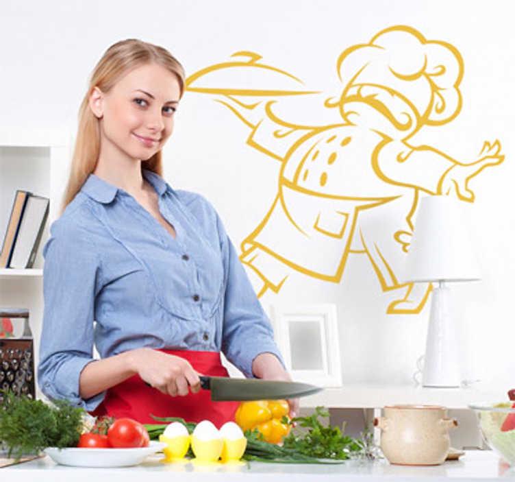 TenStickers. Sticker keuken chef bediening snor. Muursticker van een kok met een te grote koksmuts tot over zijn ogen, een leuke snor en een dienblad vast. Een mooie decoratie sticker voor uw keuken.