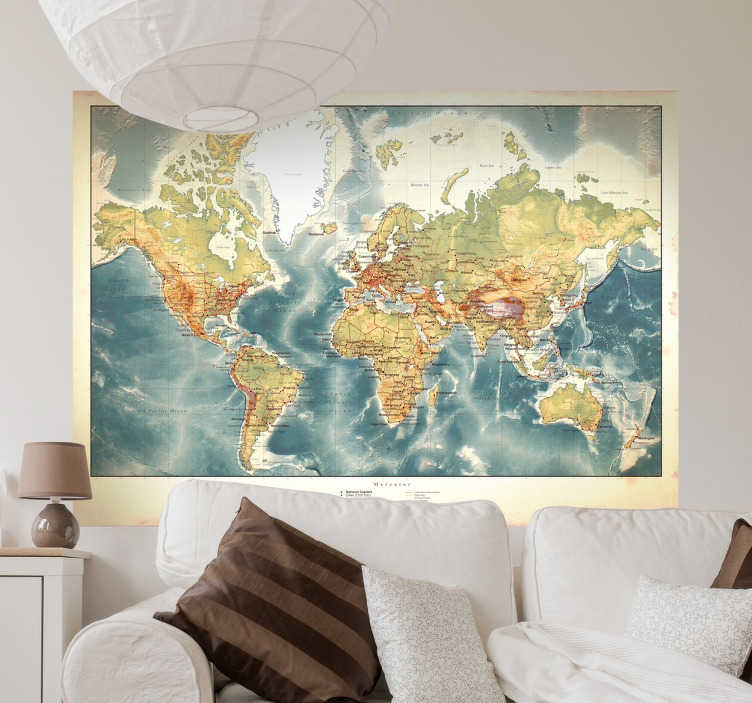 TenStickers. Old Style World Map Wall Sticker. If you're an avid world traveler and you want visitors to your home to know it, this world map wall sticker is the perfect addition to any dull walls you may have! Featuring a vintage effect, this sticker is applicable to any smooth hard surface and is as easy to apply as it is to remove.