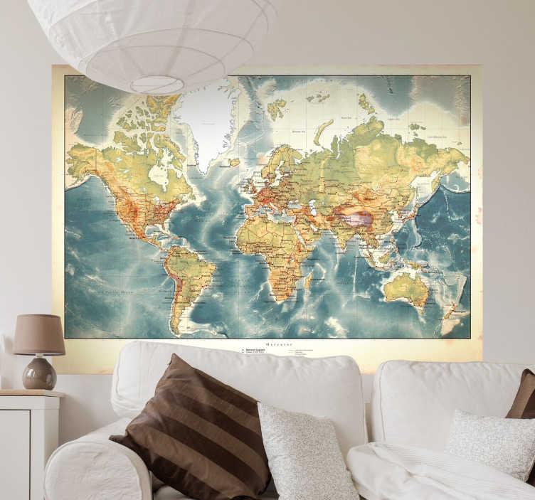 TENSTICKERS. 古いスタイルの世界地図の壁のステッカー. あなたが熱心な世界の旅行者であり、あなたの家に訪問者がそれを知りたがっていれば、この世界地図の壁のステッカーはあなたが持つかもしれないどんな鈍い壁にも最適です!ビンテージ効果が特徴のこのステッカーは、どんな滑らかな硬い表面にも適用でき、除去するのと同じくらい簡単に適用できます。