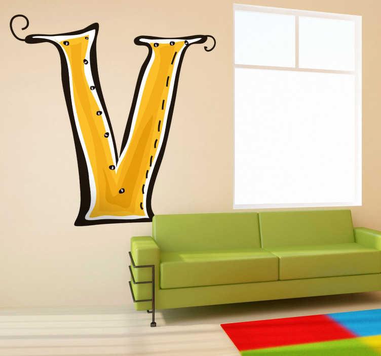 TenVinilo. Vinilo infantil dibujo letra v. Adhesivo de decoración infantil de las letras del abecedario. Letra V en color amarillo, utiliza la inicial de su nombre como elemento decorativo en su habitación y dale un toque original.