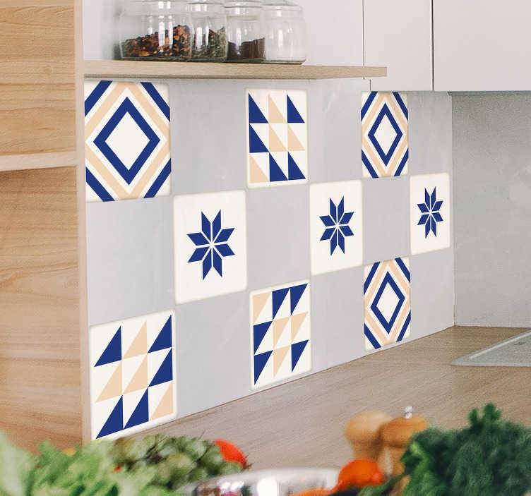 TenStickers. Ceramic Tile Sticker. Spanish tile stickers - This Spanish ceramic tile design will look amazing in your home. Make others jealous with our unique geometric tile stickers.