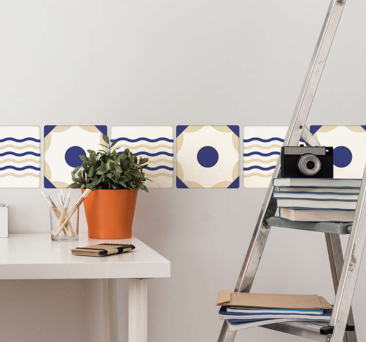 TenStickers. Spanish Tile Sticker border sticker. This Spanish tile design is perfect for adding decoration to your kitchen or bathroom. The Spanish Wall tile sticker create a nautical atmosphere.