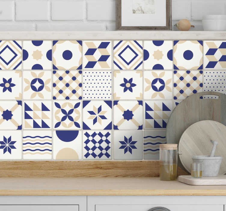 TenStickers. Keramične ploščice stenske nalepke. Ploščice stenske nalepke za vašo kuhinjo ali kopalnico. Edinstven portugalski dizajn kot nalašč za dodajanje tega dotika sloga v katero koli sobo v hiši.