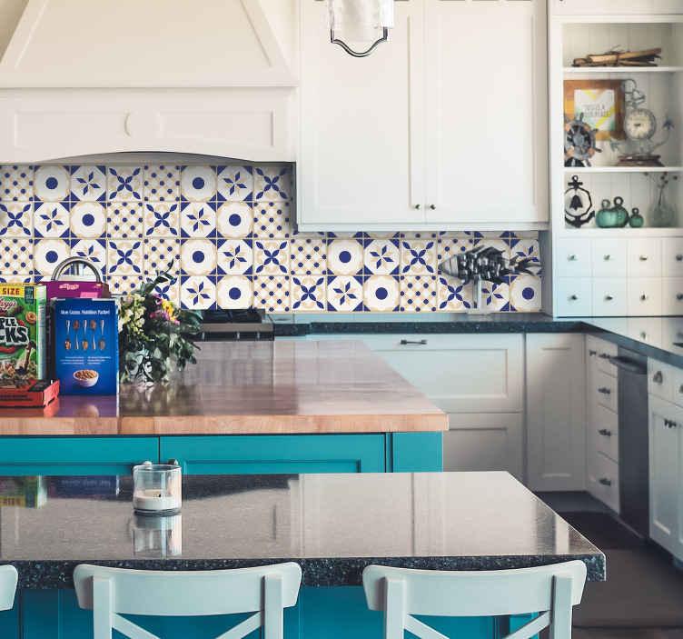 TenStickers. 세라믹 타일 벽 스티커. 귀하의 부엌이나 욕실 벽 스티커 타일. 독창적 인 포르투갈어 디자인으로 집안 어느 곳으로나 스타일을 추가 할 수 있습니다.