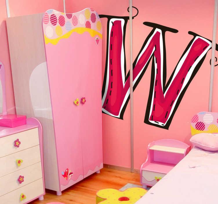 TenStickers. Vinil decorativo ilustração letra W. Vinil decorativo das letras do abecedárico. Adesivo de parede com ilustração da letra W em cor rosa. Necessita um sticker com a inicial do seu nome?
