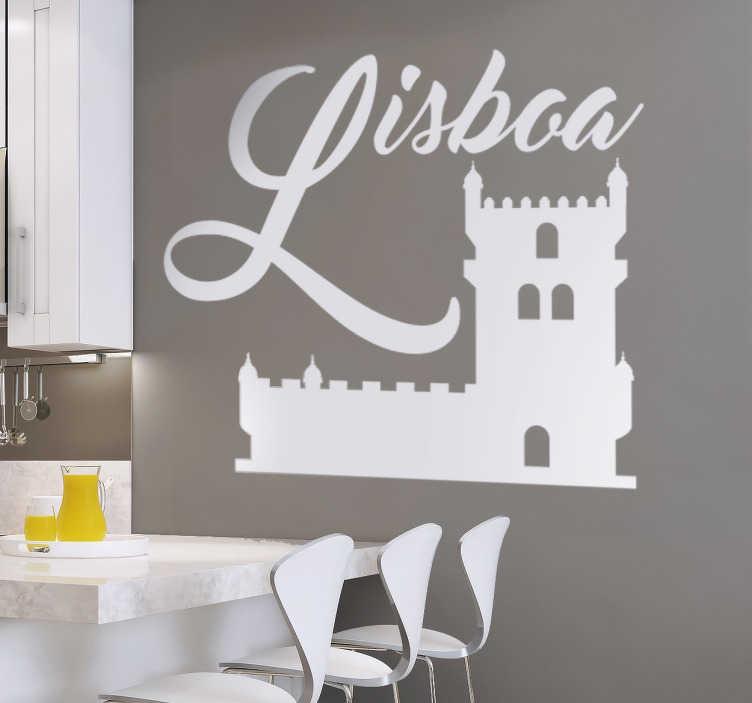 TenStickers. Vinil decorativo Lisboa Torre de Belém. Vinil decorativo de um dos monumentos mais emblemáticos de Lisboa, capital de Portugal. Adesivo de parede de uma ilustração da Torre de Belém.