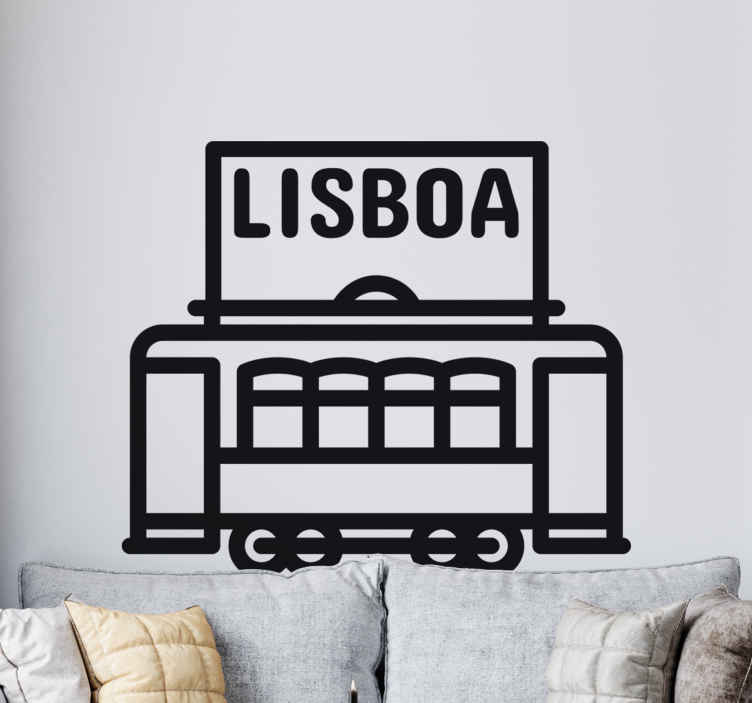 TenStickers. Vinil decorativo elétrico de Lisboa. Vinil decorativo de uma ilustração de um elétrico de Lisboa. Adesivo de parede de um dos símbolos e características mais importantes de Lisboa.