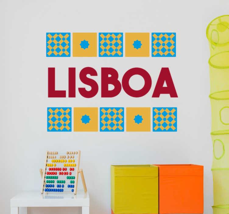 TenStickers. Sticker Lisboa tuiles. Stickers décoratifs Lisbonne avec une illustration colorée dans laquelle apparaissent les tuiles locales typiques.