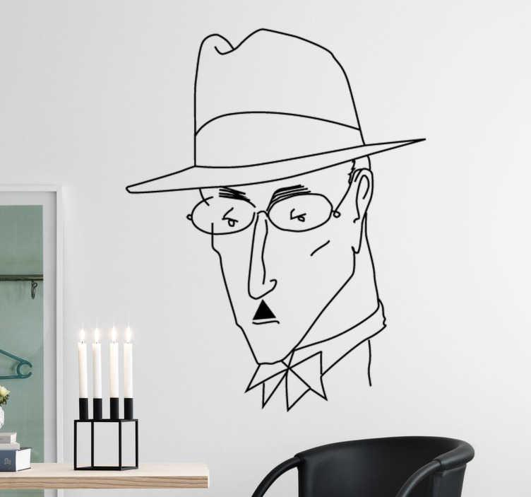 TenVinilo. Vinilo decorativo retrato Pessoa. Vinilos decorativos para amantes de la literatura y en especial de uno de los escritores portugueses más universales.