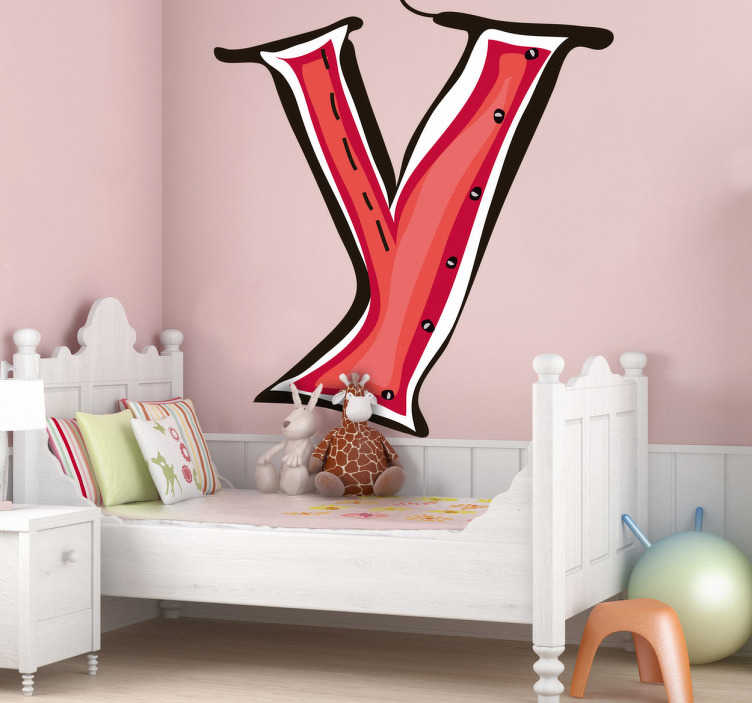 TenStickers. Letter Y Sticker. Decorative sticker of the letter Y. Does your child´s name start with Y?  A brilliant decal to decorate your child´s room.