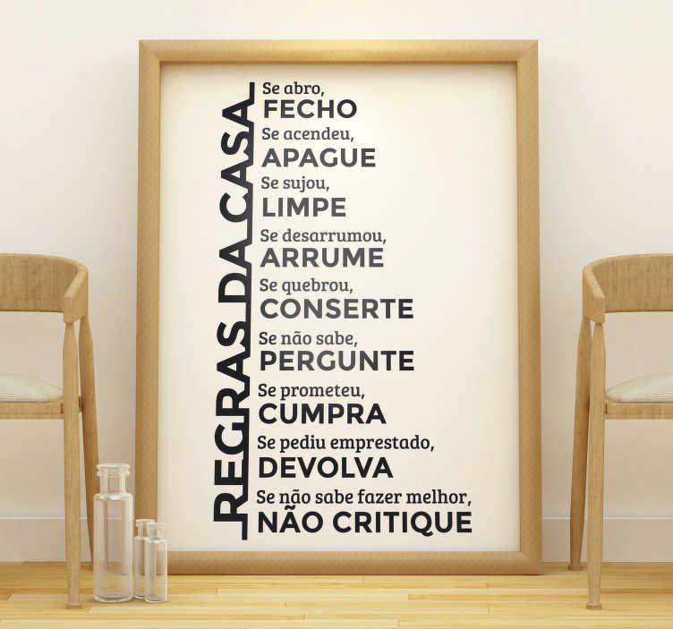 TenStickers. Vinil decorativo regras de casa. Vinil decorativo com algumas regras da casa que pensamos serem valores importantes a manter dentro de cada casa.