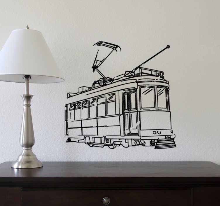 TenStickers. Vinil decorativo elétricos Carris Lisboa. Vinil decorativo de um dos muitos elétricos da Carris que circundam a cidade de Lisboa, Portugal. Adesivo de parede para decoração de interiores.