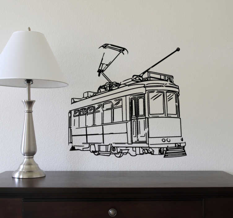 TENSTICKERS. レトロな路面電車の壁のステッカー. あなたがあなたの家にレトロな雰囲気を与えることを探しているなら、このビンテージスタイルの路面電車のデザインの装飾的な壁のステッカーよりもう探す必要はありません!