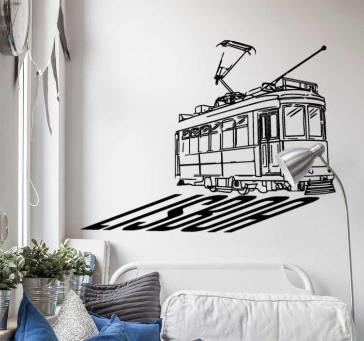 TenStickers. Sticker train Lisboa. Vous avez visité Lisbonne et avez aimé? Décorez votre chambre à l'ambiance de la capitale portugaise avec ce sticker du train et de Lisboa
