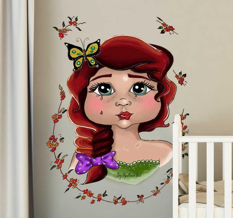 TenStickers. Naklejka ścienna melancholijna dziewczynka. Naklejka dziecięca przedstawiająca ilustrację uroczej dziewczynki.