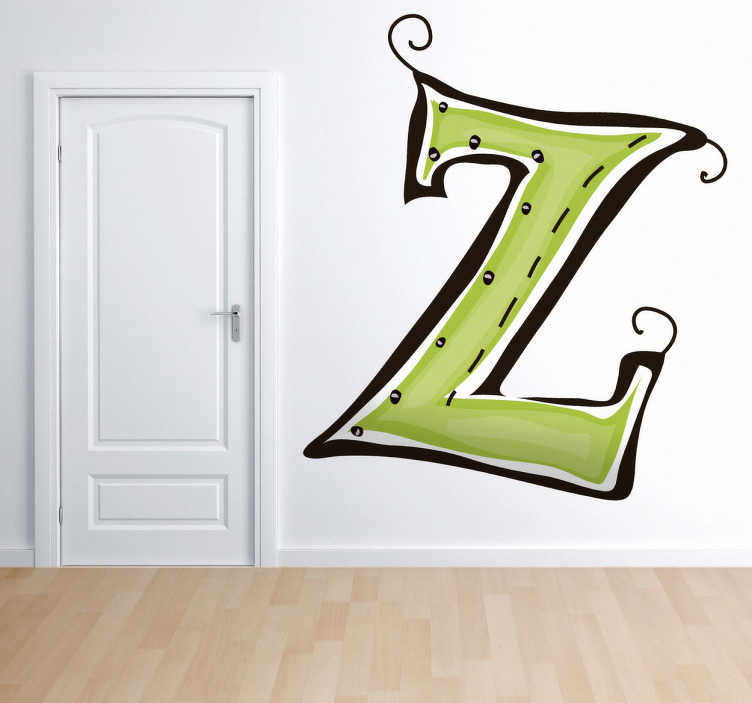 TenStickers. Naklejka literka Z. Naklejka dekoracyjna z zieloną literką Z jak Zorro. Naklejka na ścianę z kolekcji abecadło, którą możesz udekorować każdy zakątek domu.
