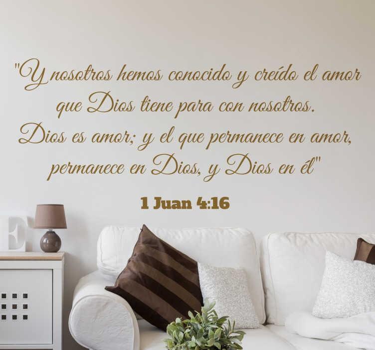 TenVinilo. Vinilo decorativo texto bíblico. Vinilos decorativos religiosos para la decoración del hogar con un extracto del evangelio de Juan.
