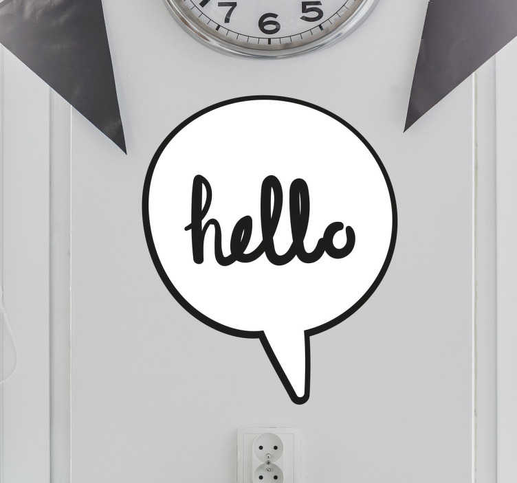 """TenStickers. Hello Comic Book Speech Bubble. This simple yet fun wall sticker showing a speech bubble containing the word """"hello"""" is the perfect addition to your home!"""