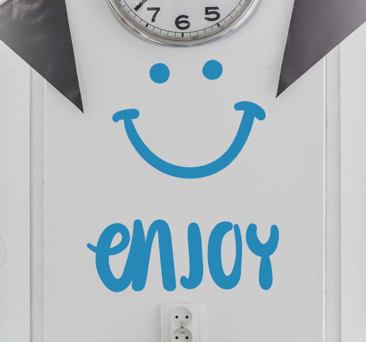 "TenStickers. Enjoy Smile Wall Sticker. This fun and versatile smile wall sticker features the text ""enjoy"" alongside a smiley face and is the perfect sticker for brightening up the walls of your kitchen or restaurant!"
