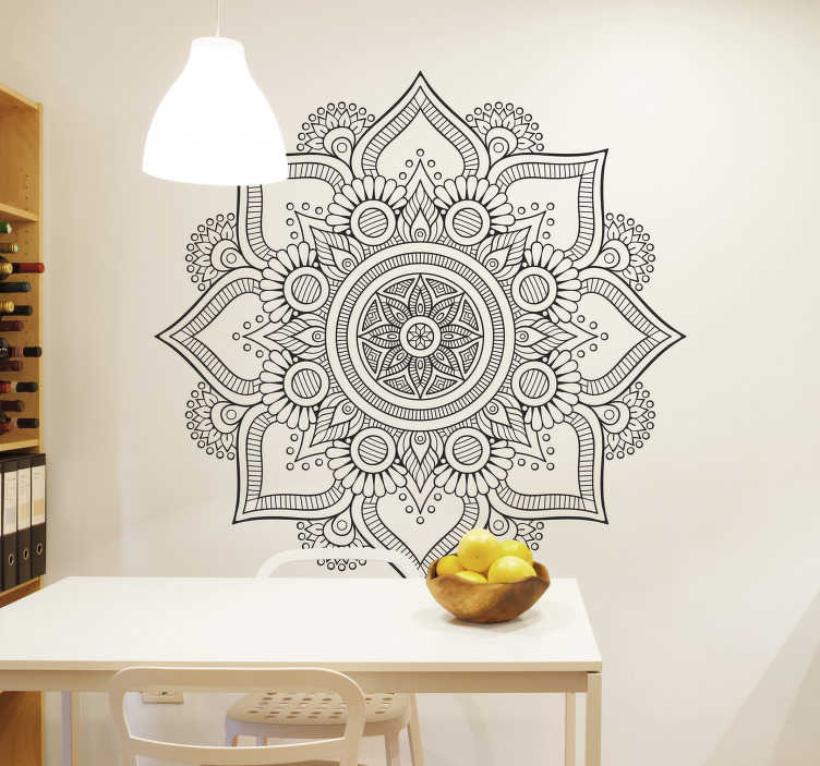 TenStickers. Květinová mandala dekorativní nástěnná samolepka. Pokud jste fanouškem indiánské kultury a chcete, aby vaši hosté věděli, je tato mandala designová dekorativní nástěnná samolepka ideální pro vás!
