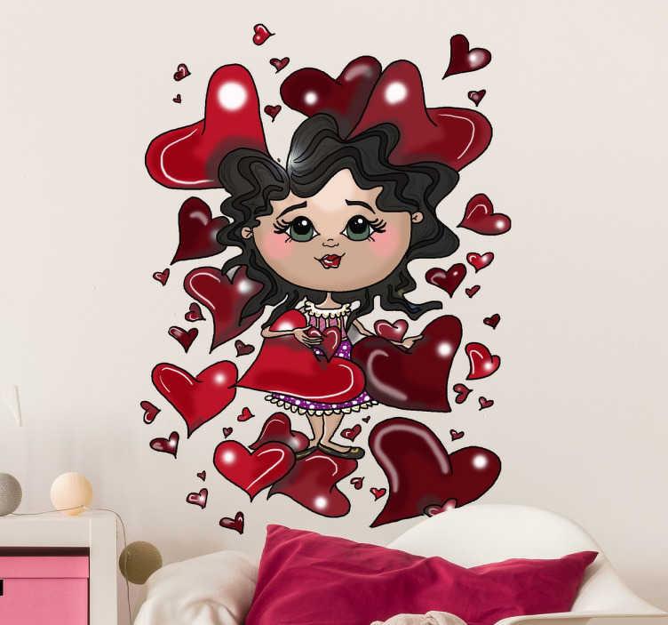 TenStickers. Sticker enfant petite fille coeurs. Montrez votre amour pour votre enfant ou votre mère avec ce sticker au design original d'une fille entourée de plusieurs cœurs.