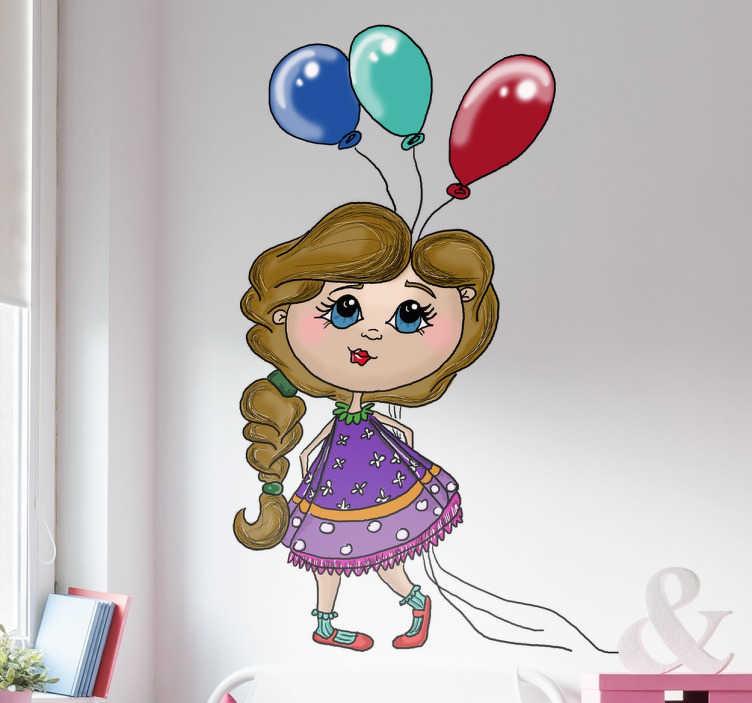 TenStickers. Petite fille tenant des ballons. Petite fille joyeuse tenant des ballons. Sticker applicable sur toutes surfaces.