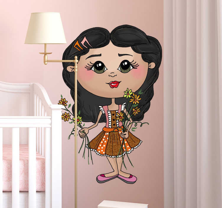 TenStickers. Muursticker Meisje met Bloemetjes. Dit schattige meisje met bloemetjes is de ideale muursticker voor op een kinderkamer. Verkrijgbaar in verschillende formaten. 10% korting bij inschrijving.