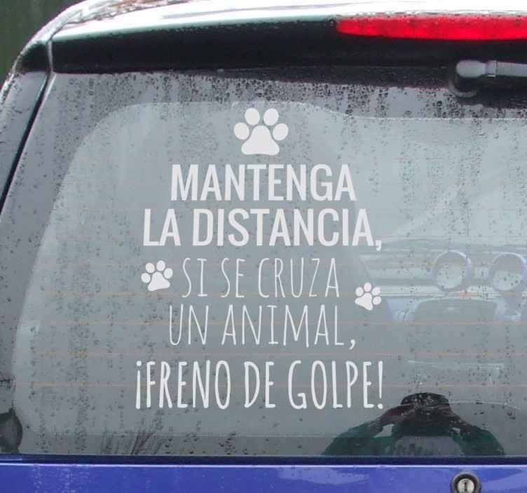TenVinilo. Pegatina para coches distancia animales. Vinilos para señalización de vehículos para alertar al resto de conductores que mantengan una distancia prudencial de seguridad.