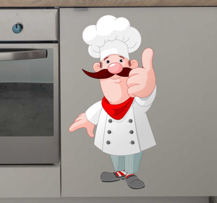 TenStickers. Thumbs Up Cartoon Chef Decorative Sticker. This cute and original decorative wall sticker featuring a jolly moustached chef giving the thumbs up of approval is perfect for your kitchen