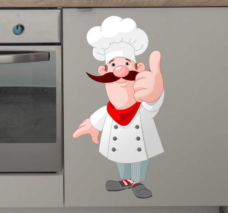 TenStickers. Wesoły szef kuchni. Udekoruj ściany Twojej kuchni w oryginalny sposób z naklejką przedstawiającą wesołego szefa kuchni.