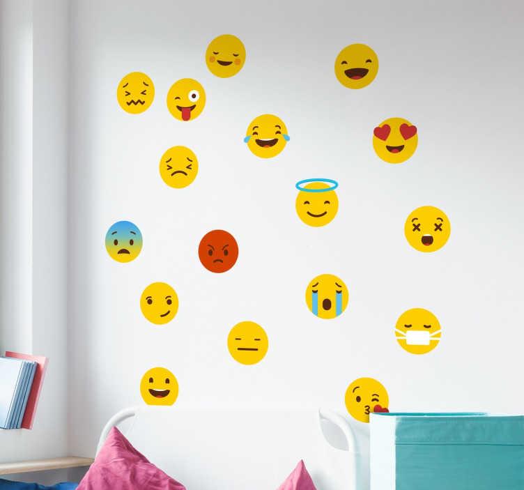 TenStickers. Muursticker Emoji Whatsapp. Ze zijn niet meer weg te denken, the emojis are here to stay! Met deze muursticker belanden de emojis zo van je telefoonscherm op je muur